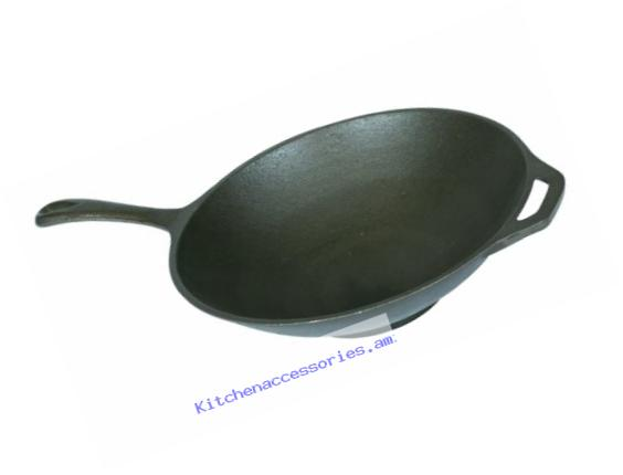 Stansport Cast Iron Wok or Stir Fry Skillet, 12-inch, flat bottom for stove top use
