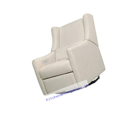 Babyletto Kiwi Electronic Recliner and Swivel Glider with USB Port, White Linen
