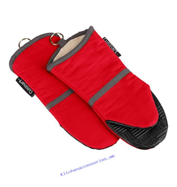 Cuisinart Oven Mitt with Non-Slip Silicone Grip, Heat Resistant to 500?� F, Red, 2-Pack