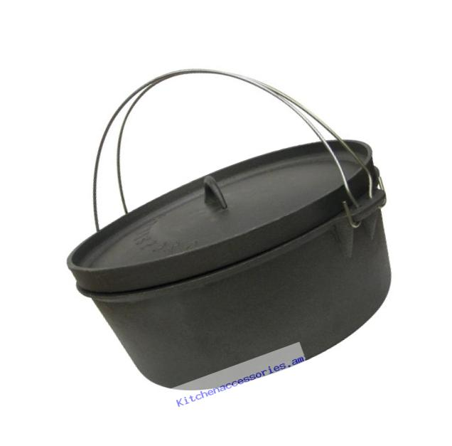 Stansport Non-Seasoned Cast Iron Dutch Oven, Flat Bottom (8-Quart)