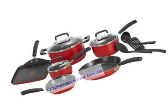 T-fal C112SC Signature Nonstick Expert Thermo-Spot Heat Indicator Dishwasher Safe Cookware Set, 12-Piece, Red