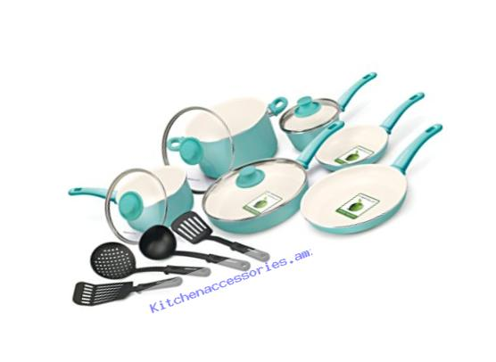 GreenLife Soft Grip 14pc Ceramic Non-Stick Cookware Set, Turquoise