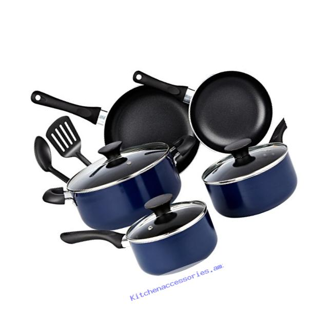 Cook N Home 10 Piece Non Stick Black Soft Handle Cookware Set, Blue