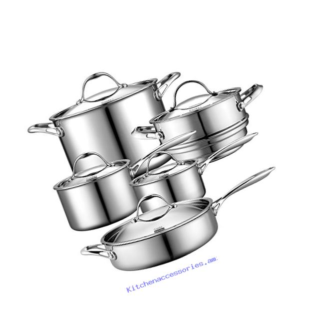 Cooks Standard 10 Piece Multi-Ply Clad Cookware Set, Stainless Steel