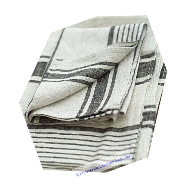 LinenMe Linen Provence Hand and Guest Towels, 18 by 28-Inch, Natural Black Striped, Set of 2